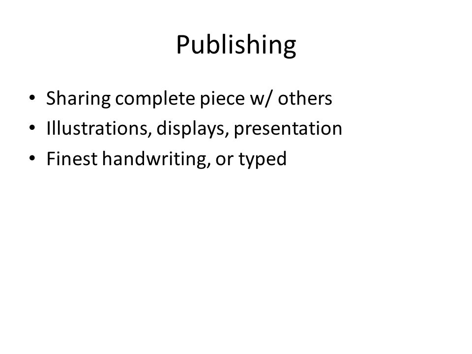 Publishing Sharing complete piece w/ others