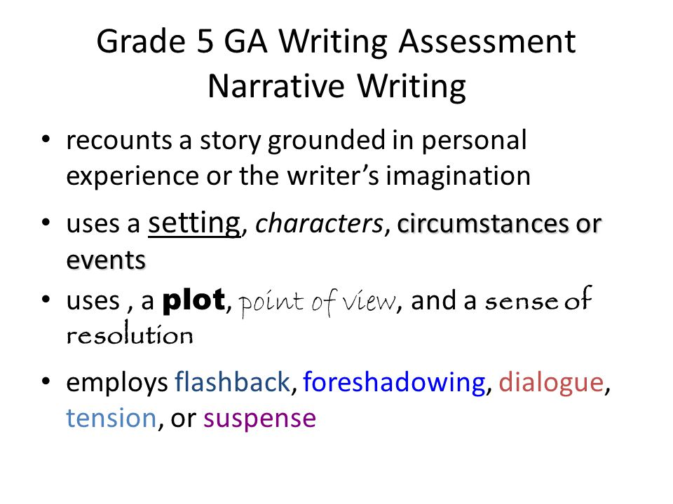Grade 5 GA Writing Assessment Narrative Writing