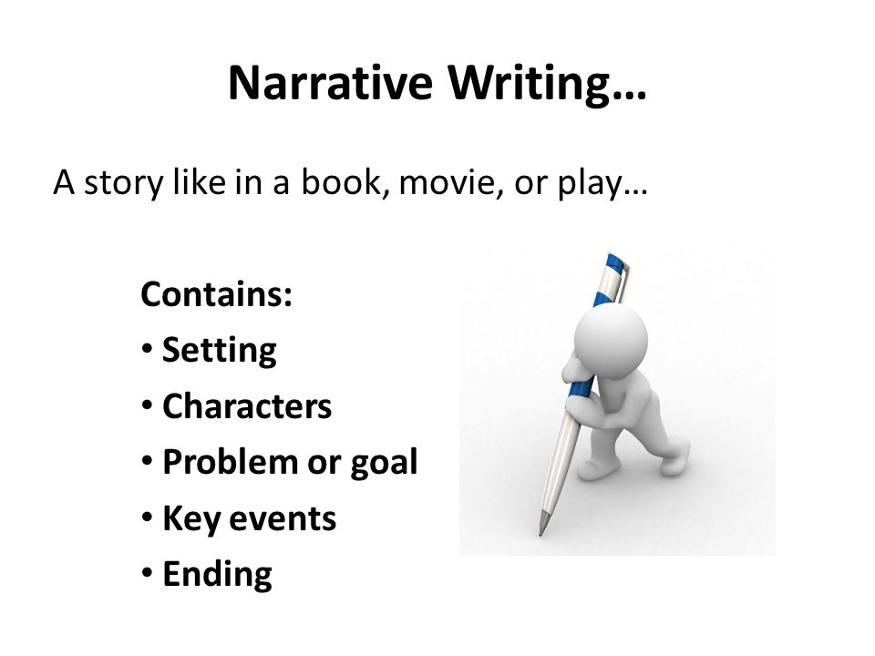 Narrative Writing… A story like in a book, movie, or play… Contains: