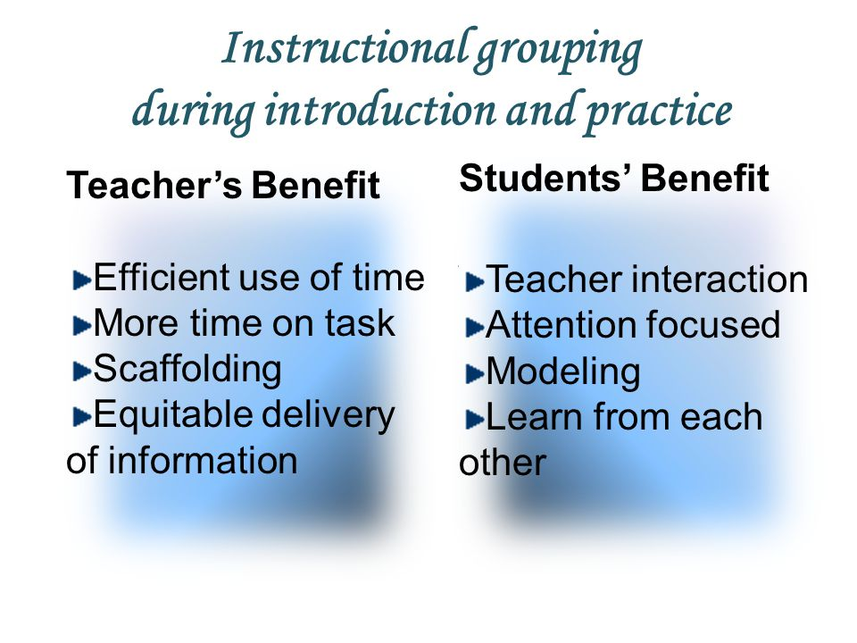 Instructional grouping during introduction and practice