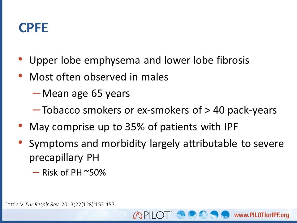 CPFE Upper lobe emphysema and lower lobe fibrosis