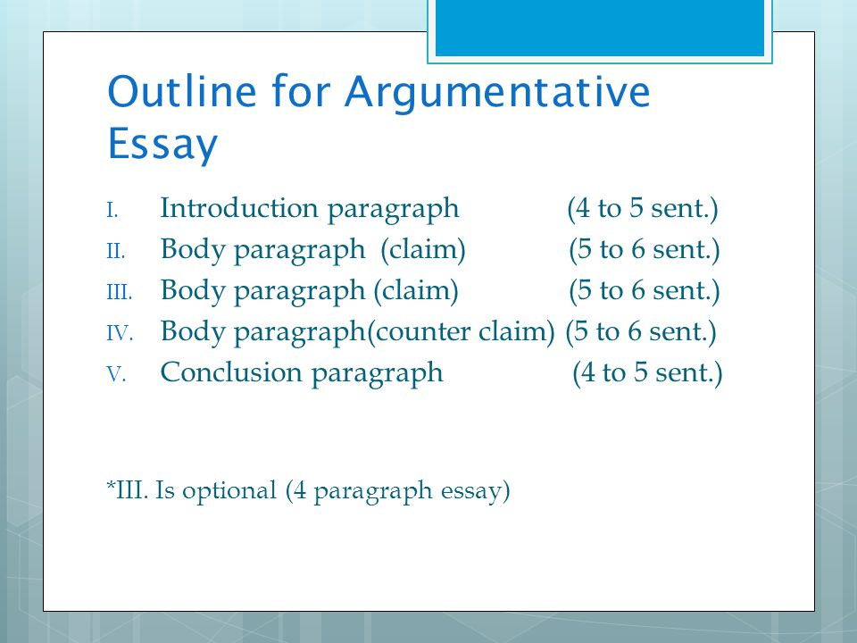 write an argumentative essay outline An argumentative essay outline is an action plan which helps to put ideas together and start writing if you lack information on how to develop a well-structured argumentative essay in english or choose best examples of debatable topics , my article is just what you need.