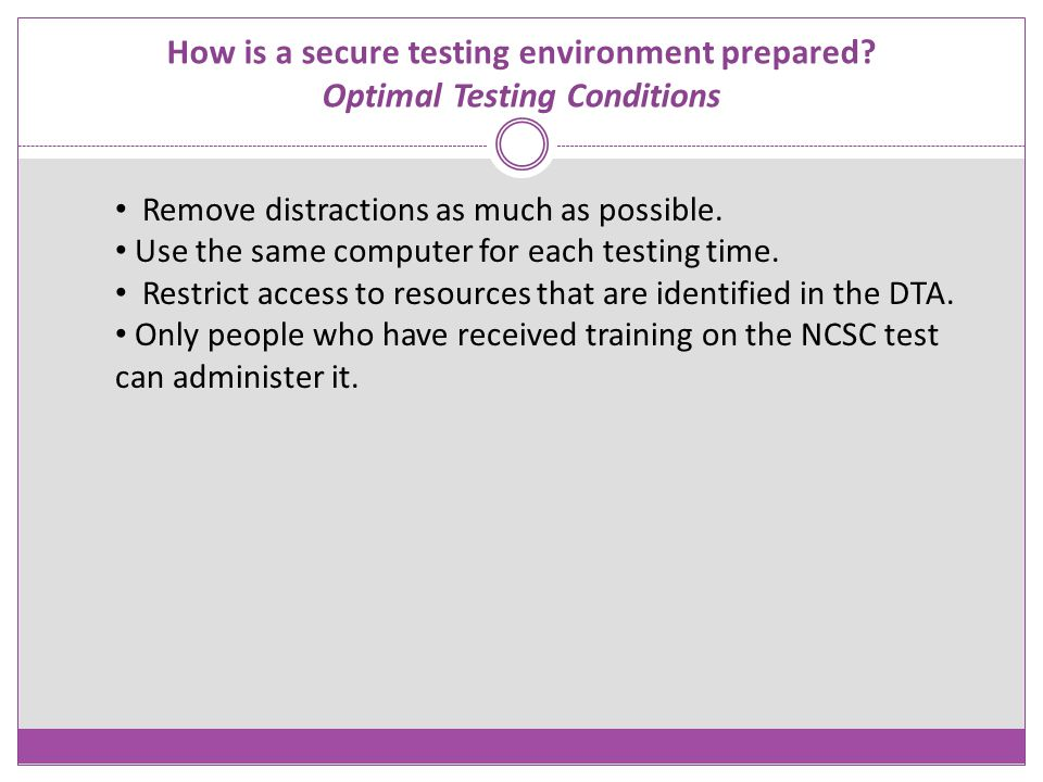 How is a secure testing environment prepared