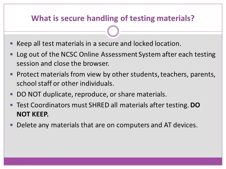 What is secure handling of testing materials