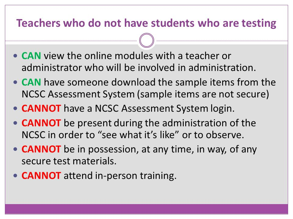 Teachers who do not have students who are testing