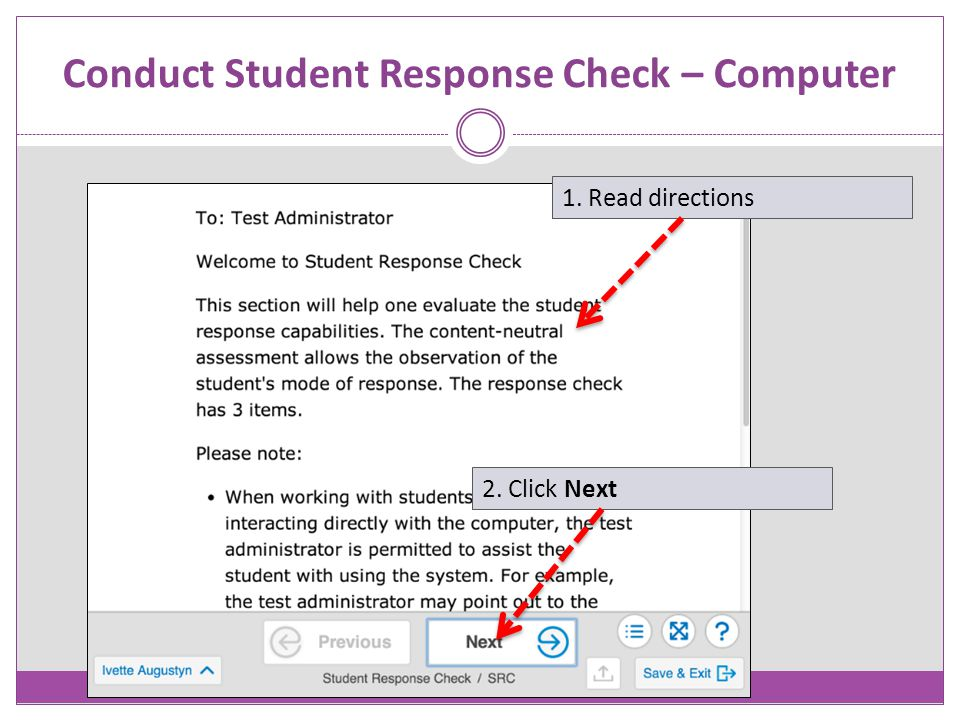 Conduct Student Response Check – Computer
