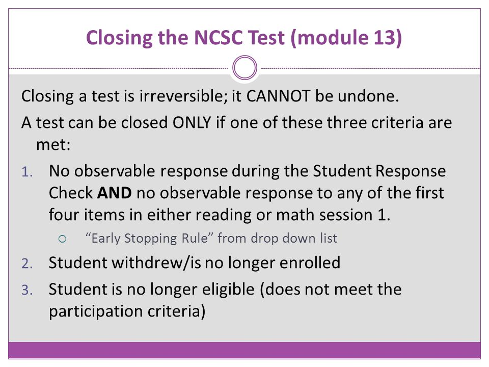 Closing the NCSC Test (module 13)