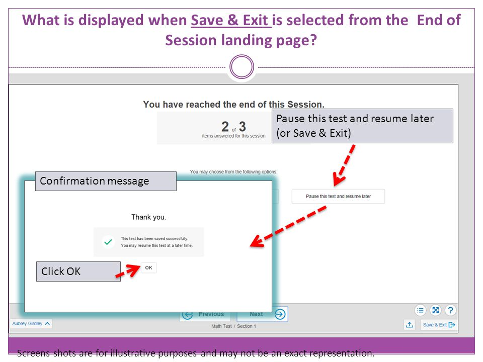 What is displayed when Save & Exit is selected from the End of Session landing page