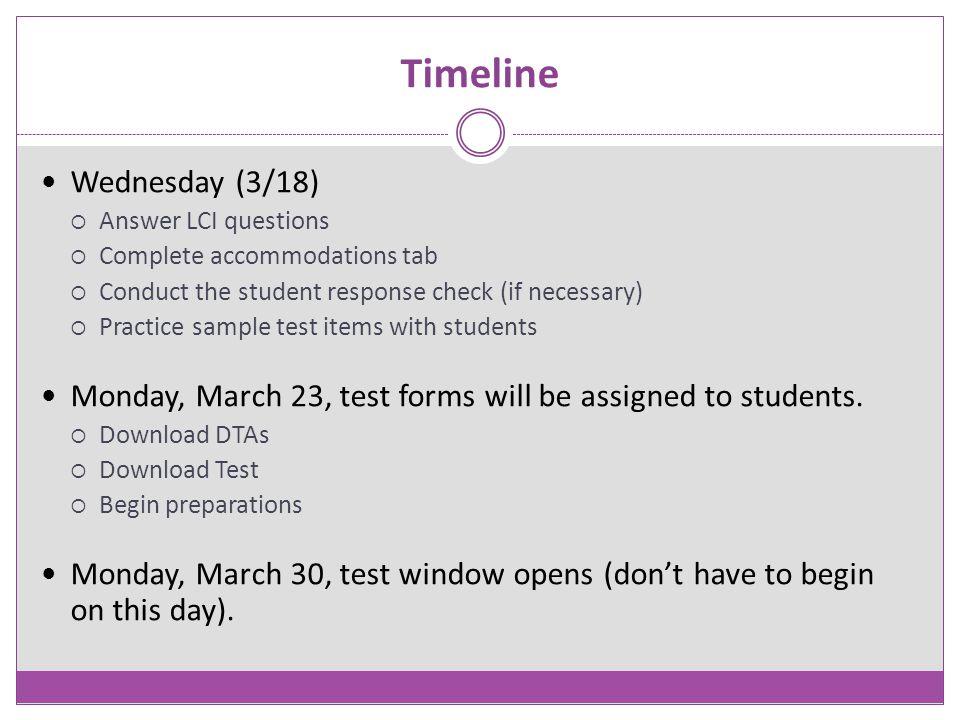 Timeline Wednesday (3/18)