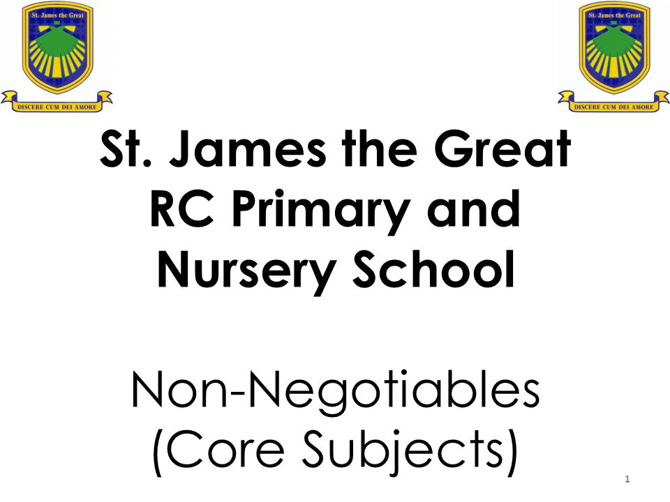 St. James the Great RC Primary and Nursery School Non-Negotiables (Core Subjects)