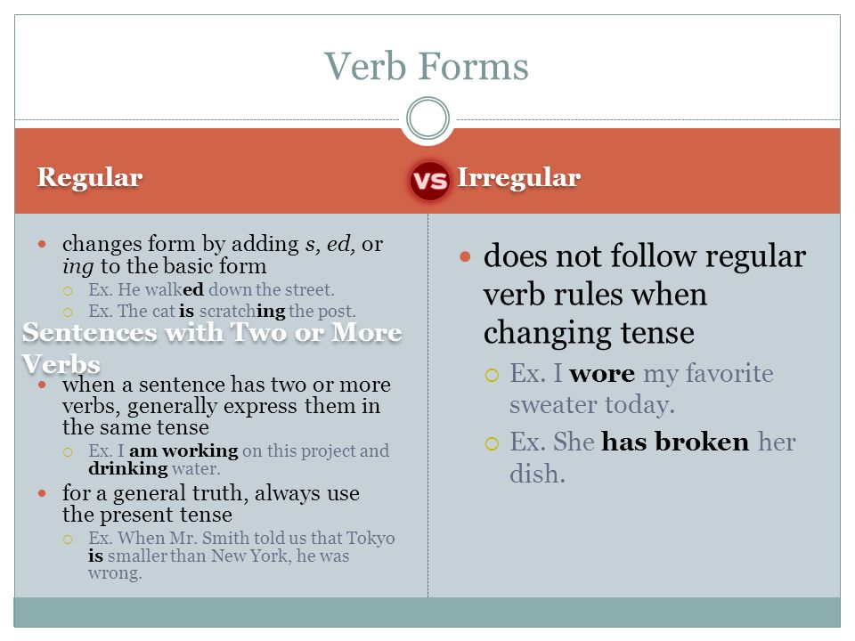 Verb Forms does not follow regular verb rules when changing tense
