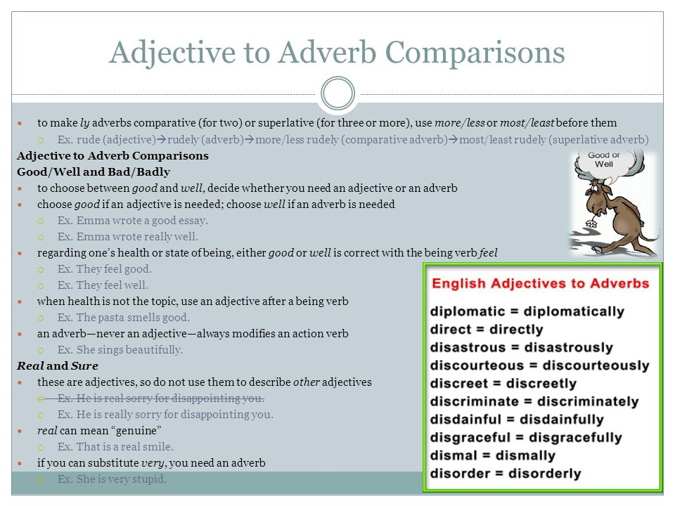 Adjective to Adverb Comparisons