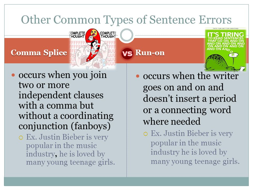 Other Common Types of Sentence Errors