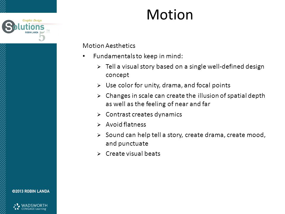 Motion Motion Aesthetics Fundamentals to keep in mind: