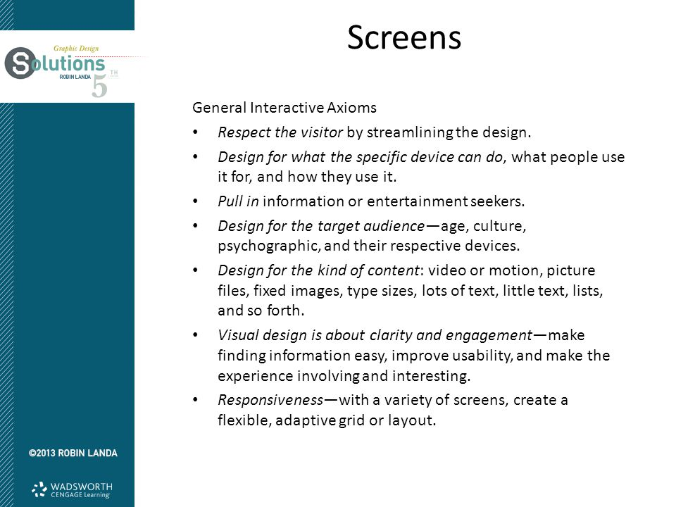 Screens General Interactive Axioms