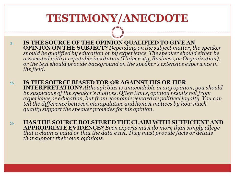 TESTIMONY/ANECDOTE