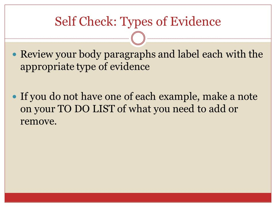 Self Check: Types of Evidence