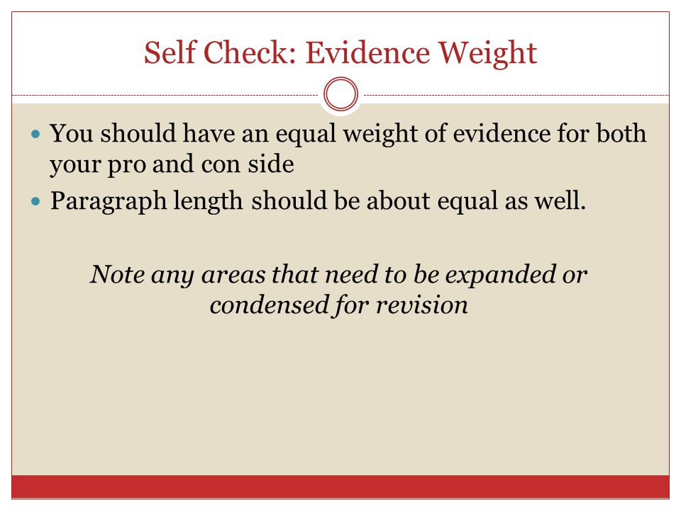 Self Check: Evidence Weight
