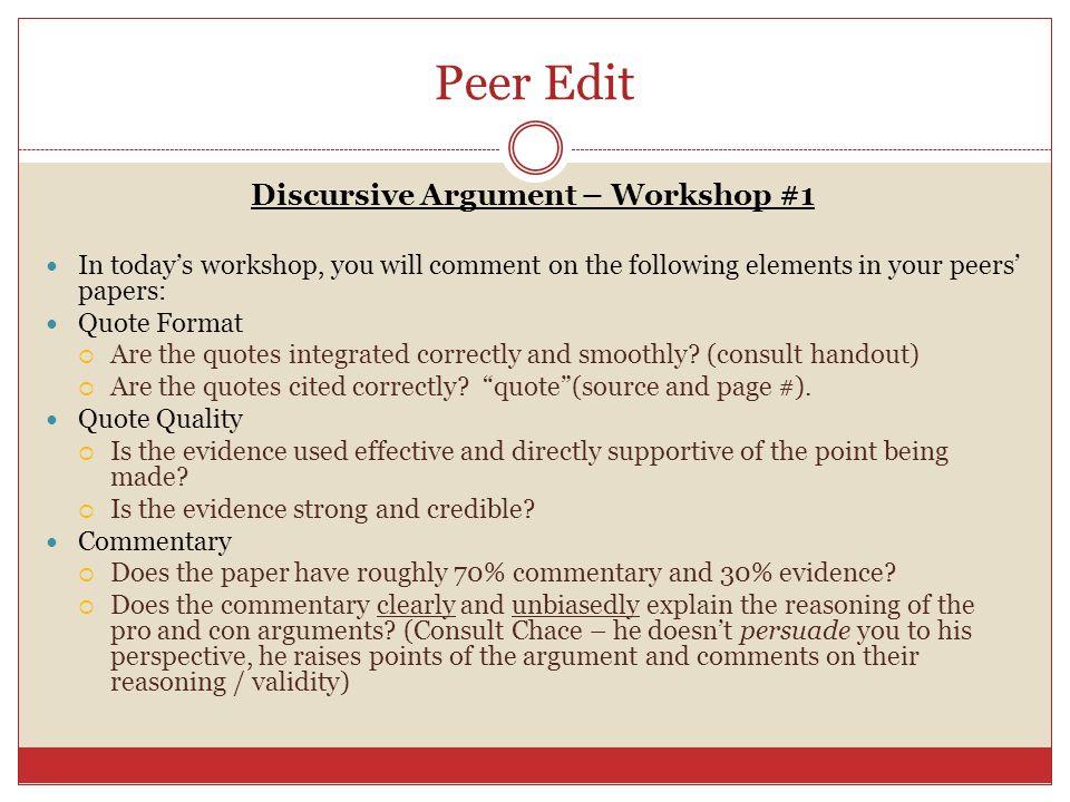 Discursive Argument – Workshop #1