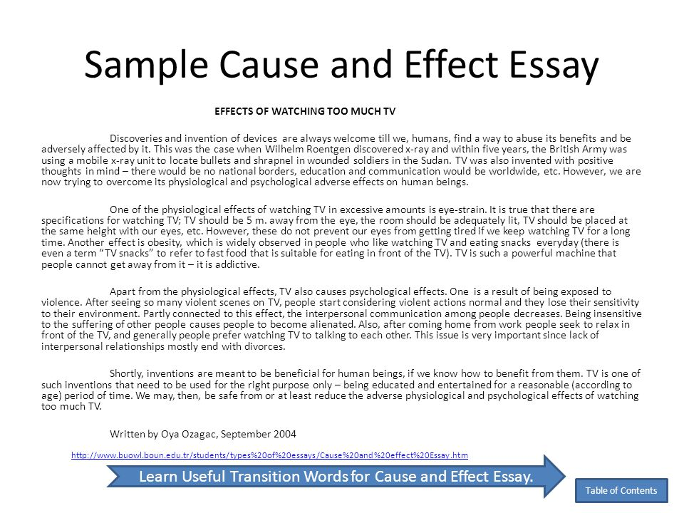 cause and effect essay examples college The cause and effect essay is one that asks you to explain what reactions come from certain actions and why it's commonly written in 5 paragraph style.
