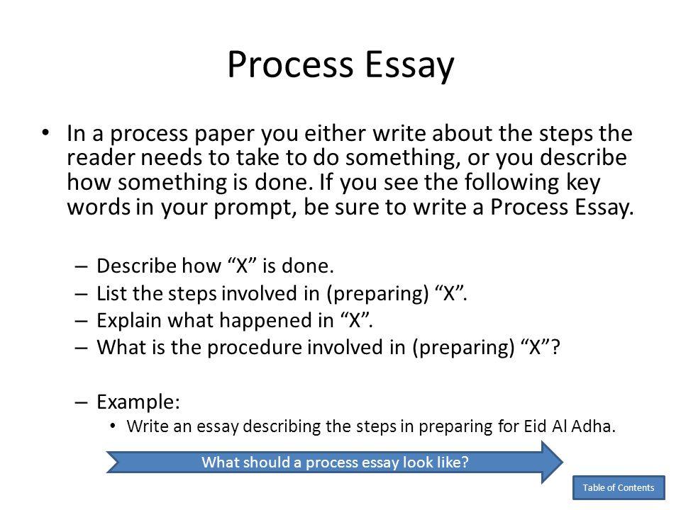 examples of process writing The thesis statement provides the focus of your essay for the reader, illustrating your general purpose and indicating the type of essay you are writing the thesis for a process analysis therefore needs to express what process you will present, such as how to write an essay or what happens when a volcano erupts.