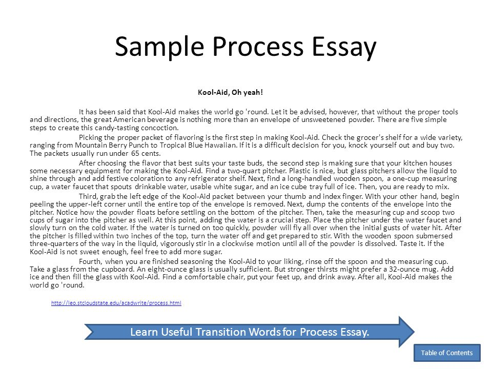 process analysis essay on process writing Before writing a process analysis essay, a prewriting stage helps you brainstorm  and collect your thoughts the writer will start by asking.