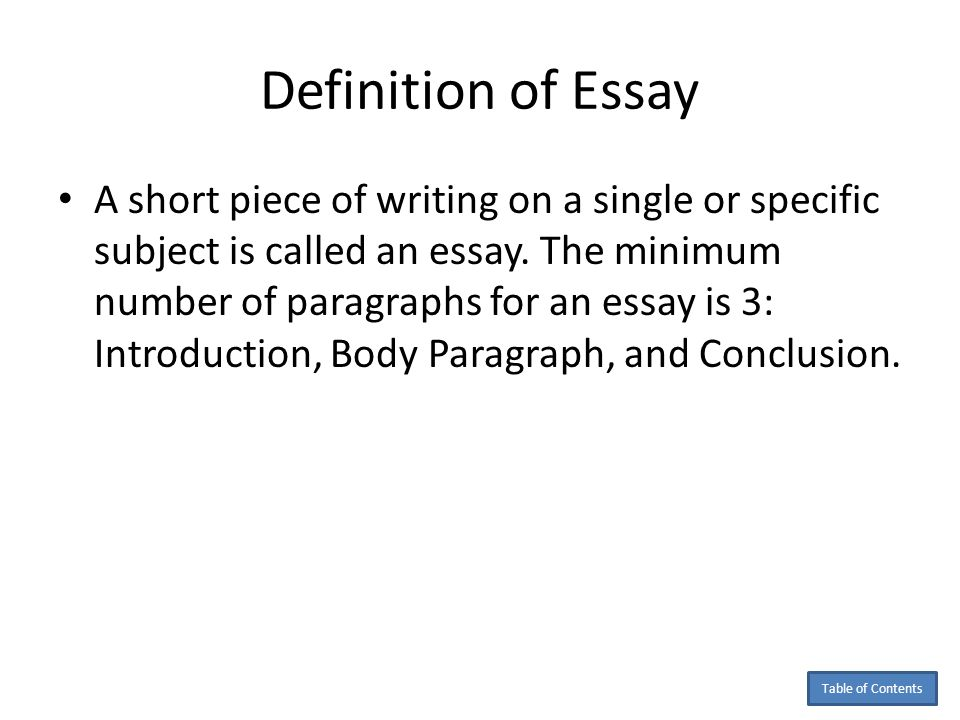 the definition of essay An essay has been defined in a variety of ways one definition is a prose composition with a focused subject of discussion or a long, systematic.