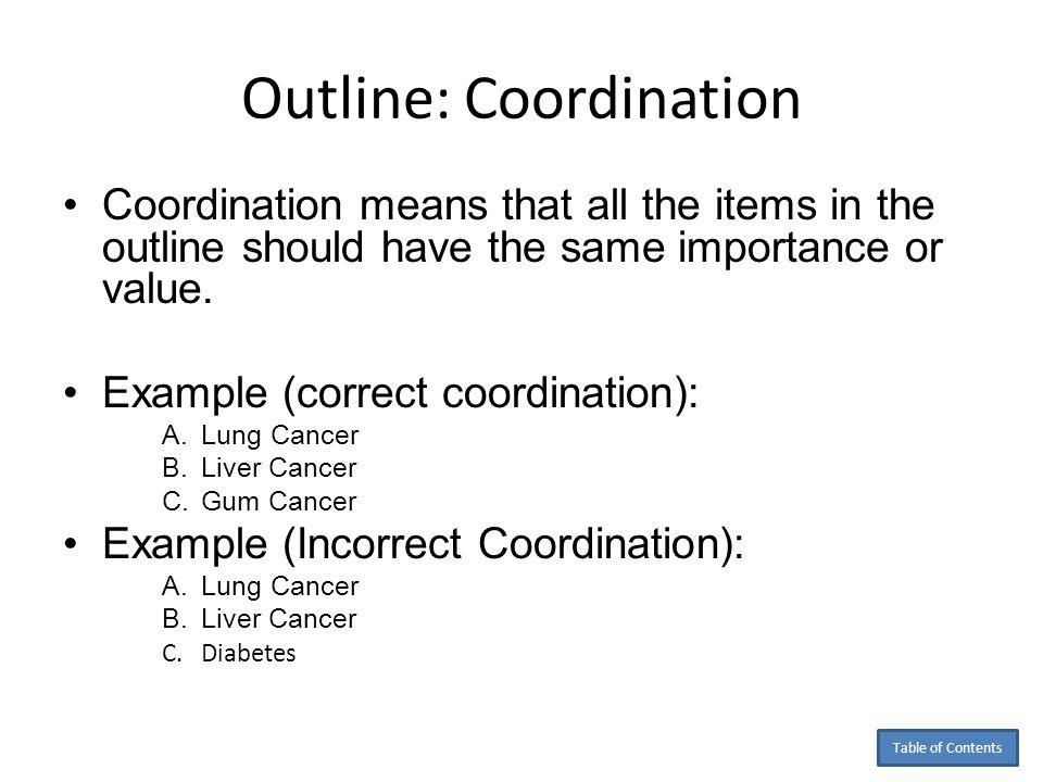 Outline: Coordination