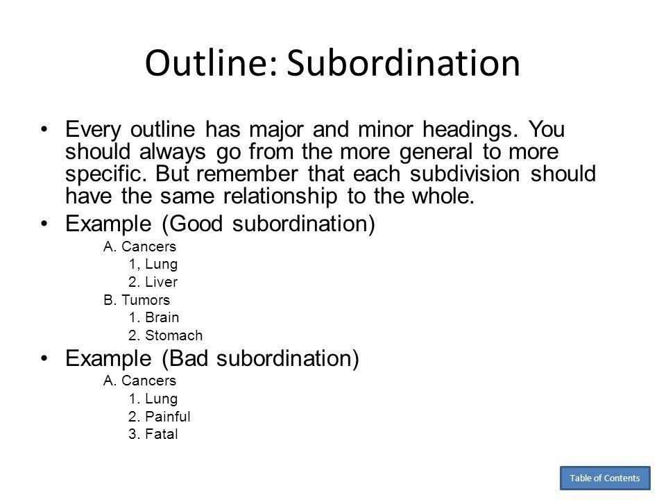 Outline: Subordination