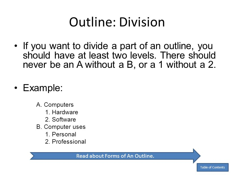 Read about Forms of An Outline.