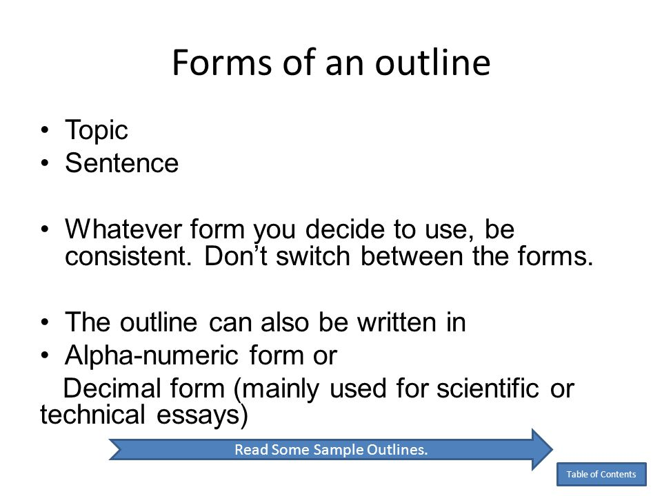 Read Some Sample Outlines.