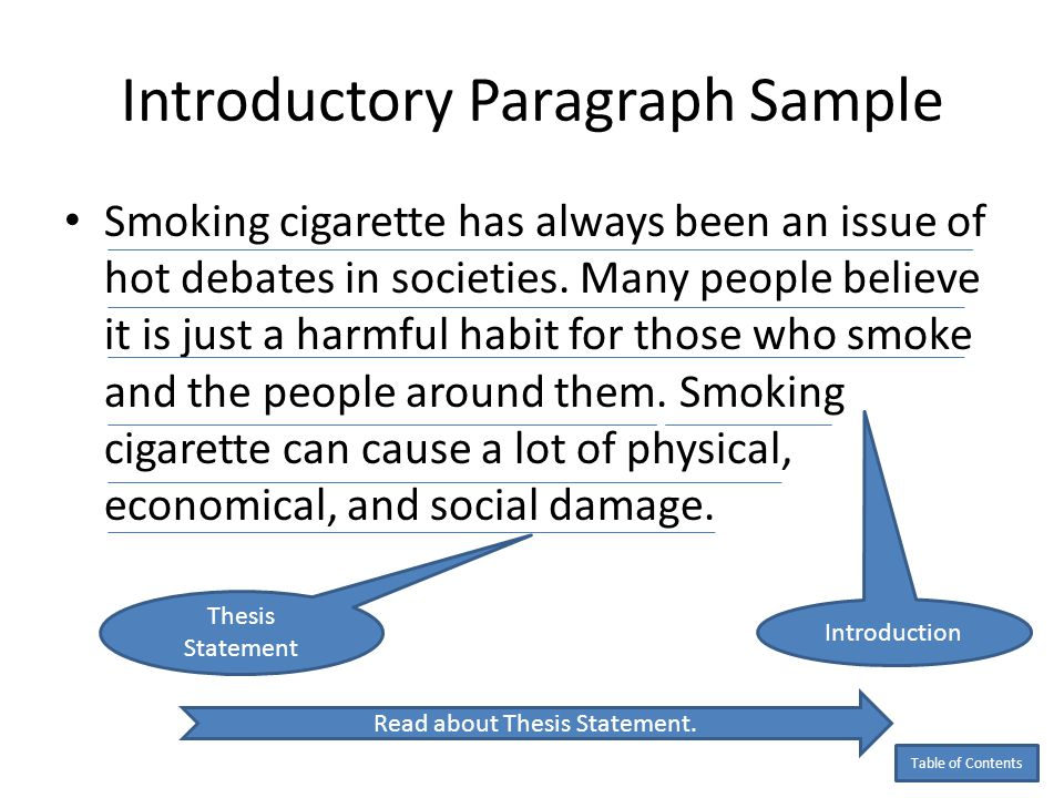 good thesis statement for cigarette smoking Thesis statements and introductions purpose not only does the introduction contain your thesis statement, but it provides the initial impression of your argument, your writing style, and the overall quality of your work (.