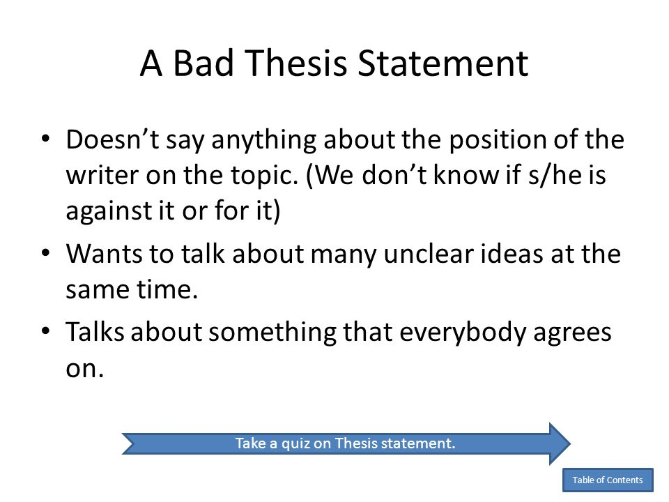thesis statement online quiz