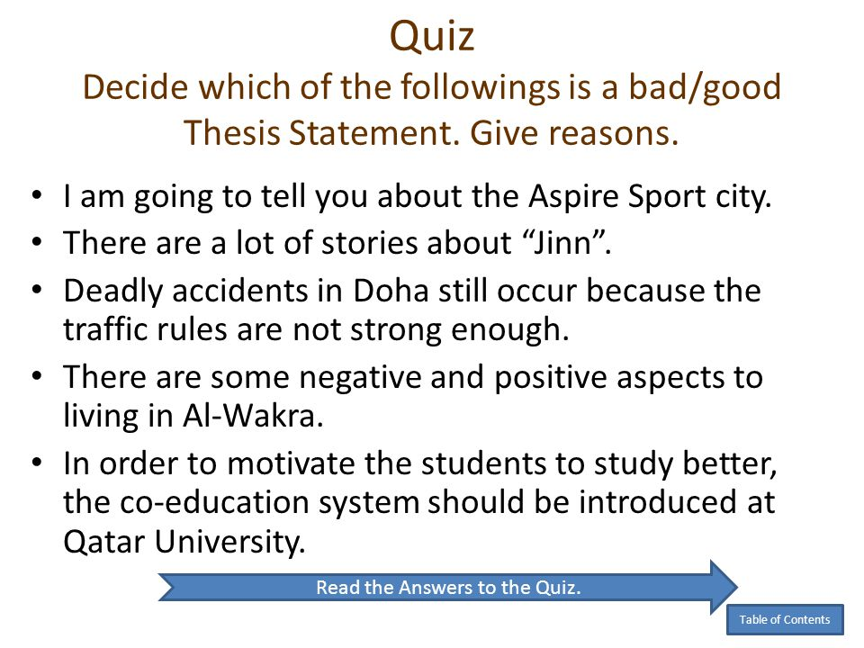 Read the Answers to the Quiz.