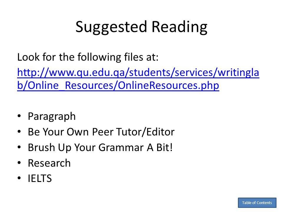 Suggested Reading Look for the following files at: