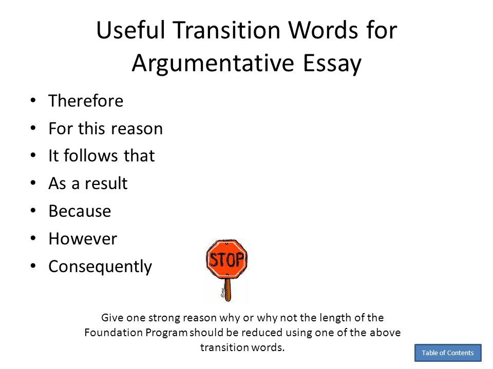 good transition words argumentative essay Transition words for persuasive essays when dealing with persuasive essays, you must make sure that your article will be very cohesive and organized.