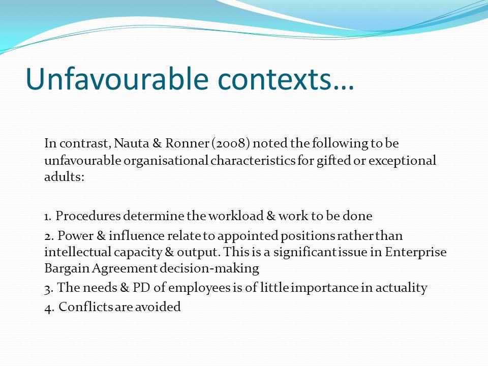 Unfavourable contexts…