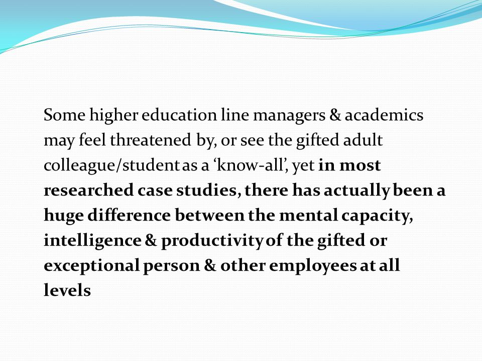 Some higher education line managers & academics