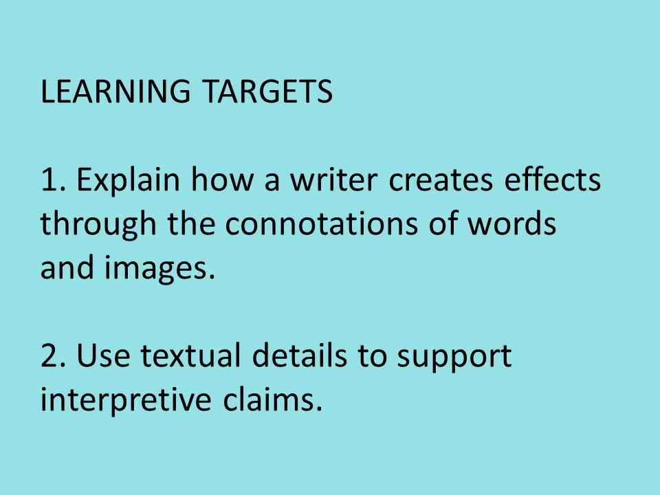 LEARNING TARGETS 1.