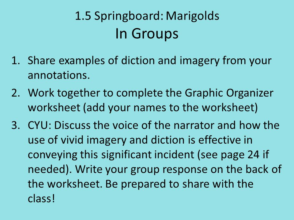 1.5 Springboard: Marigolds In Groups
