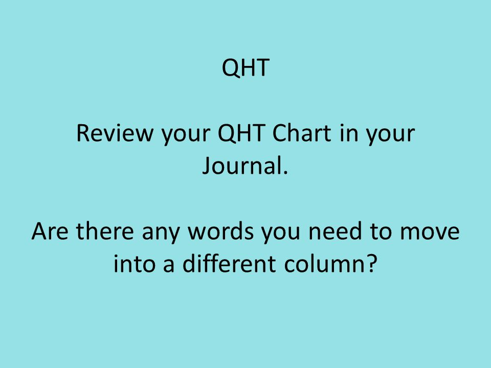 QHT Review your QHT Chart in your Journal