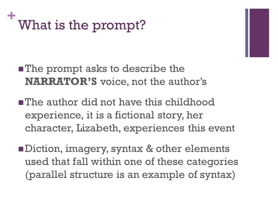 What is the prompt The prompt asks to describe the NARRATOR'S voice, not the author's.