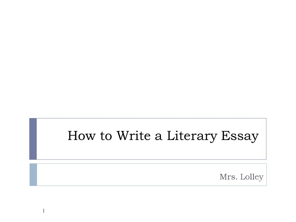 How to Write a Literary Essay