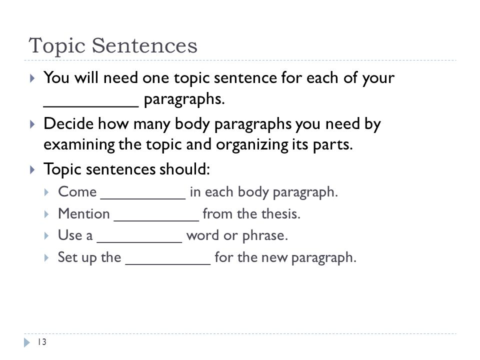 Topic Sentences You will need one topic sentence for each of your __________ paragraphs.