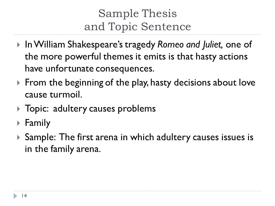 Sample Thesis and Topic Sentence