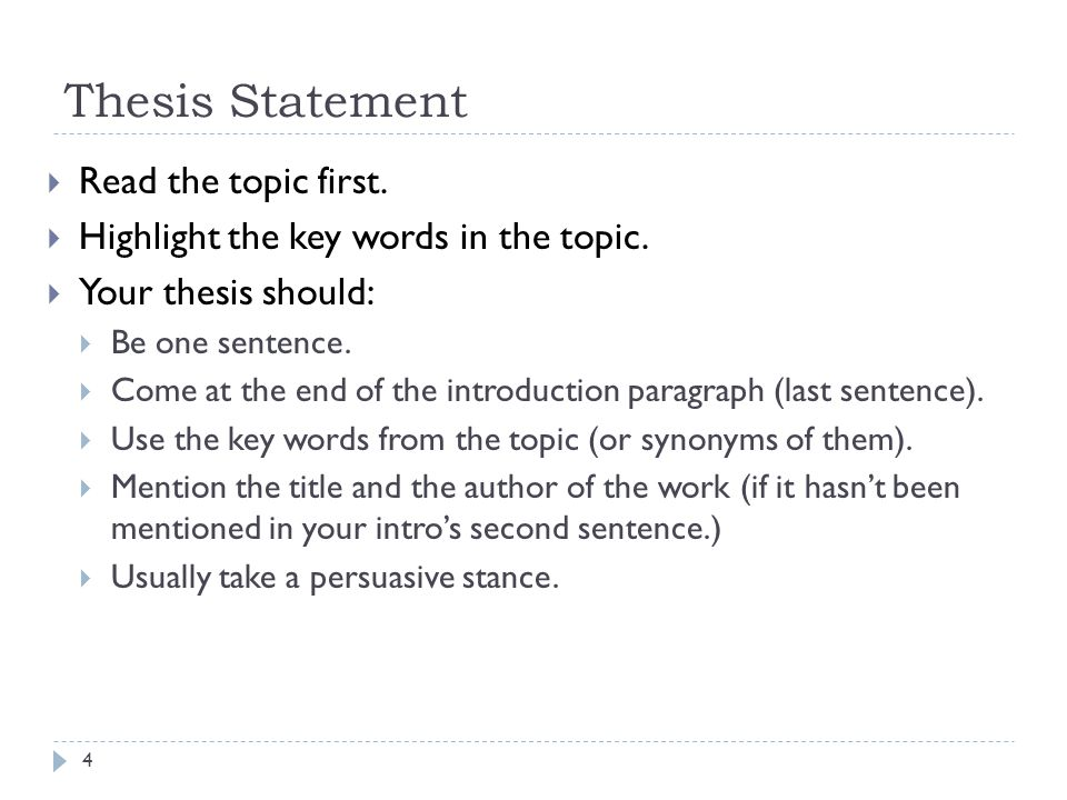 Thesis Statement Read the topic first.