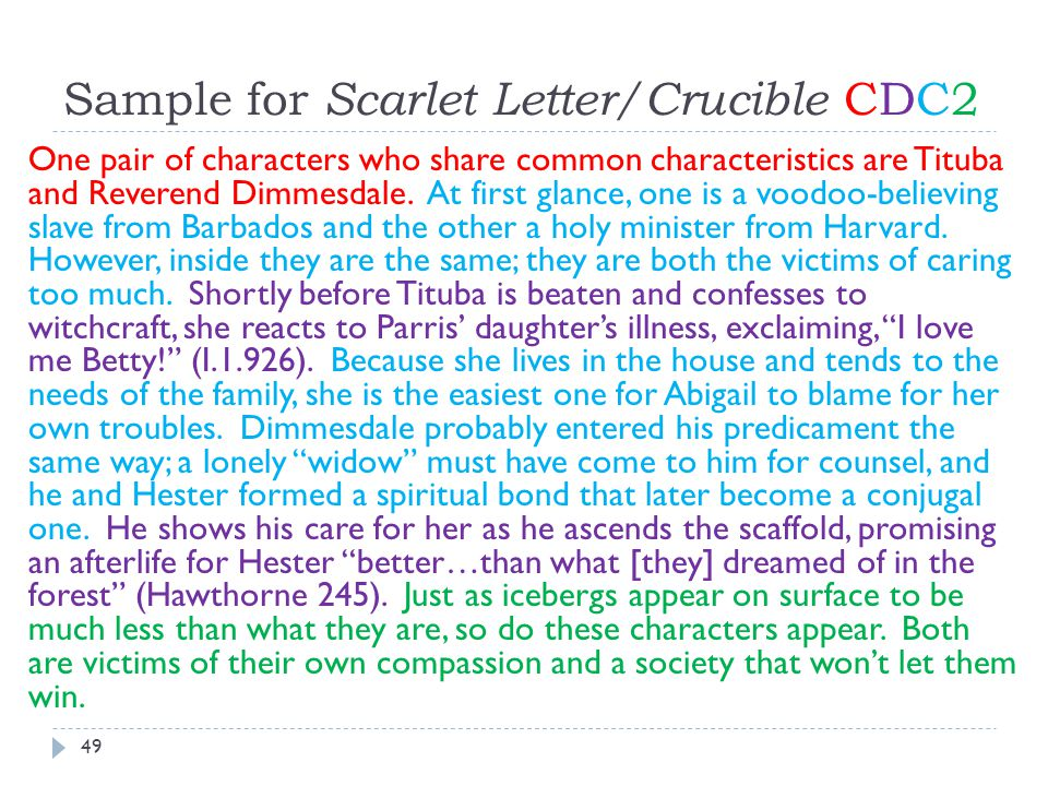 Sample for Scarlet Letter/Crucible CDC2