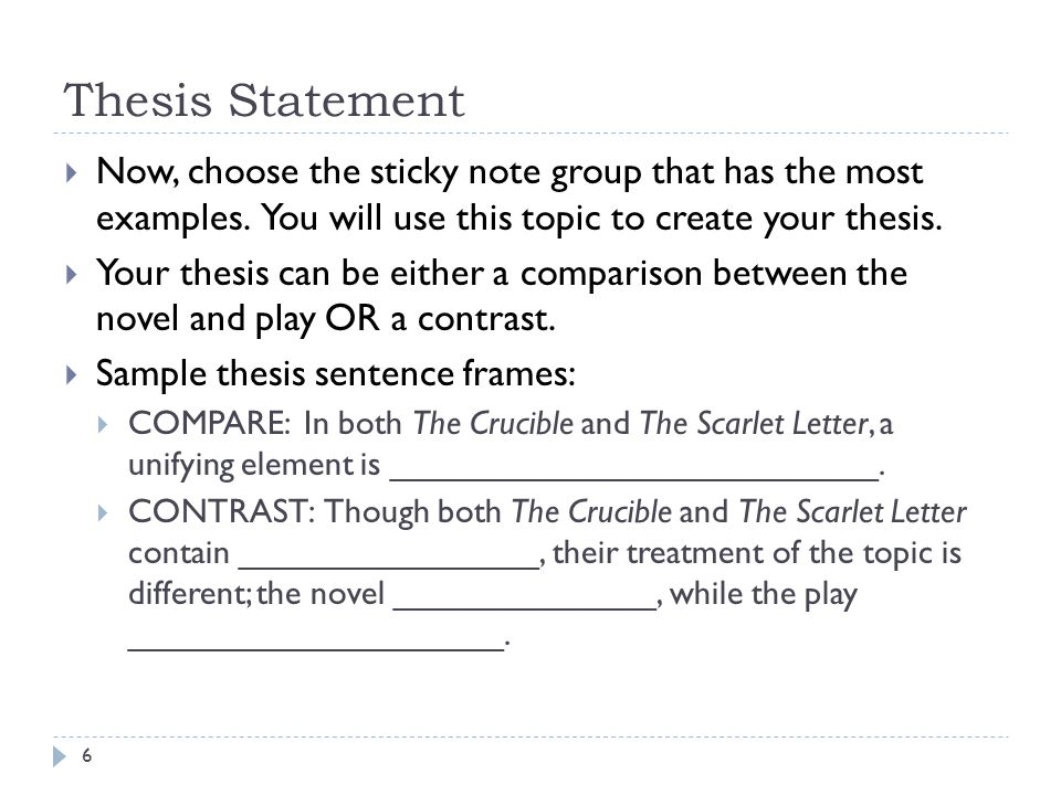 Thesis Statement Now, choose the sticky note group that has the most examples. You will use this topic to create your thesis.