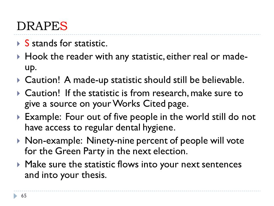 DRAPES S stands for statistic.