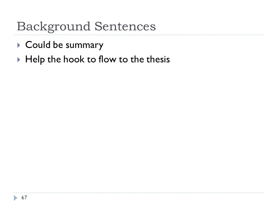 Background Sentences Could be summary